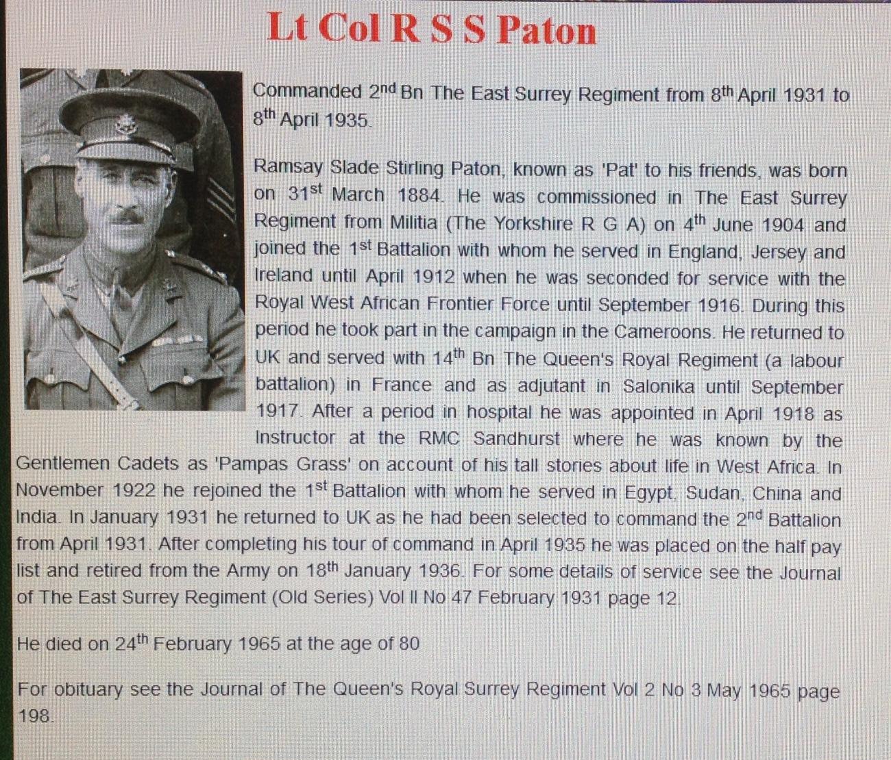 Lt Col RSS Paton