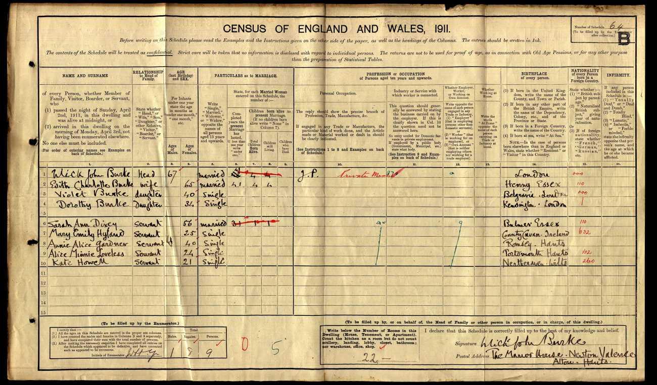Ulick John Burke 1911 Census