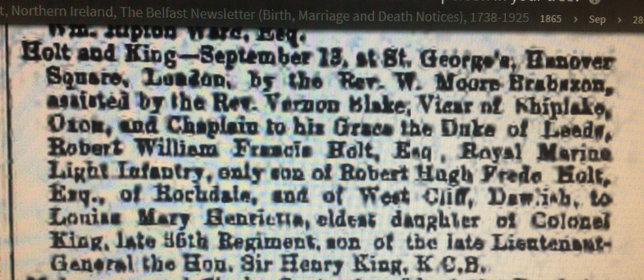 Wedding report in paper 1865 HOLT KING.JPG