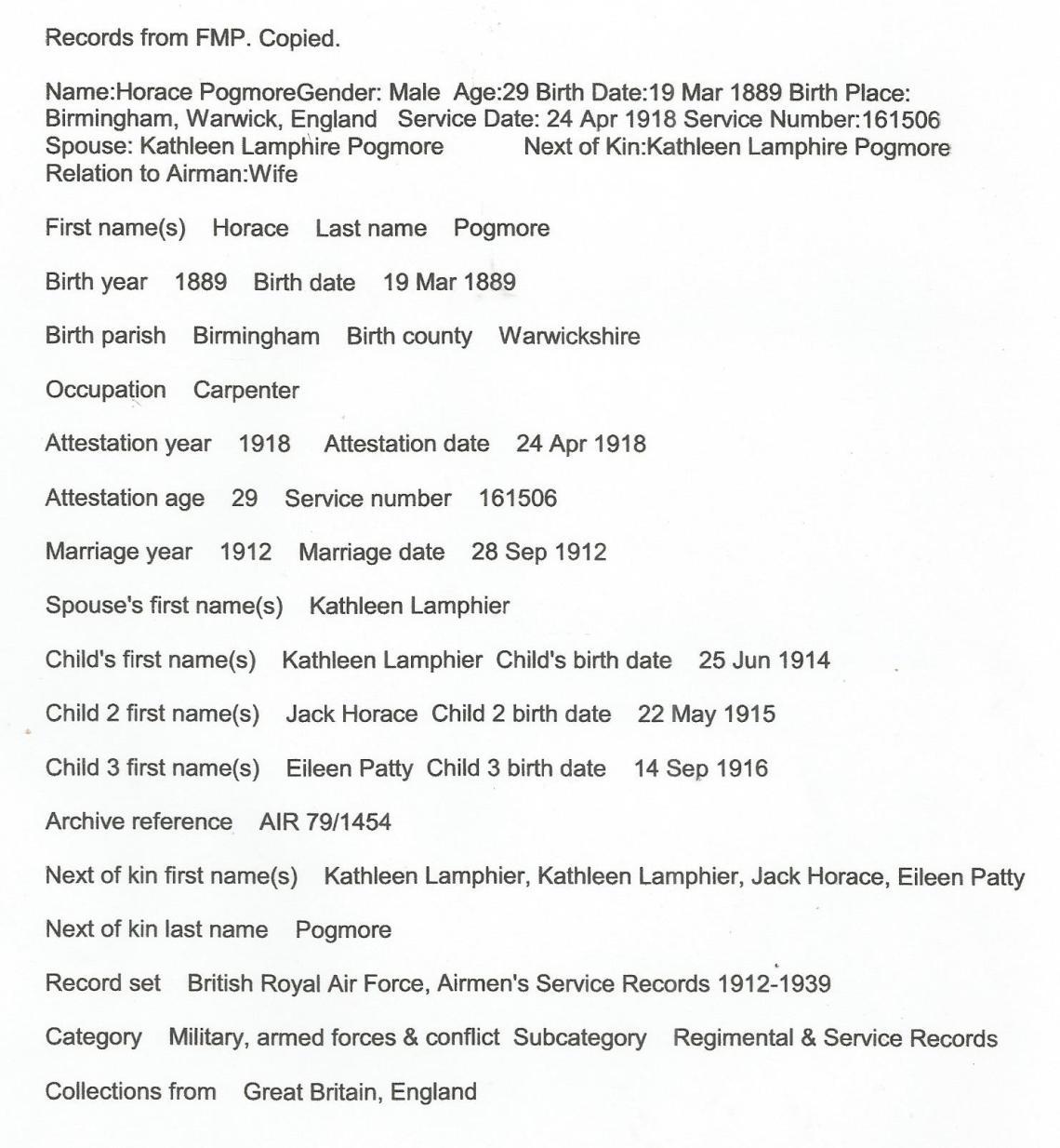 Horace family info 2