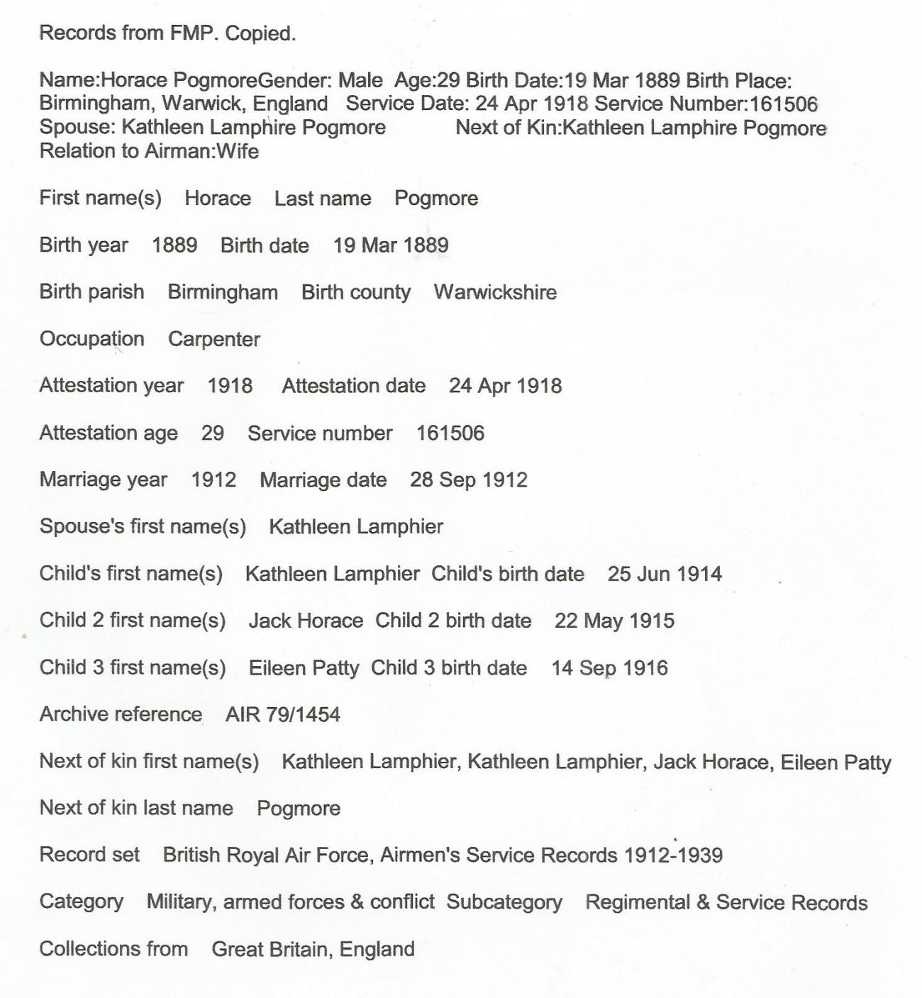 Horace family info 2