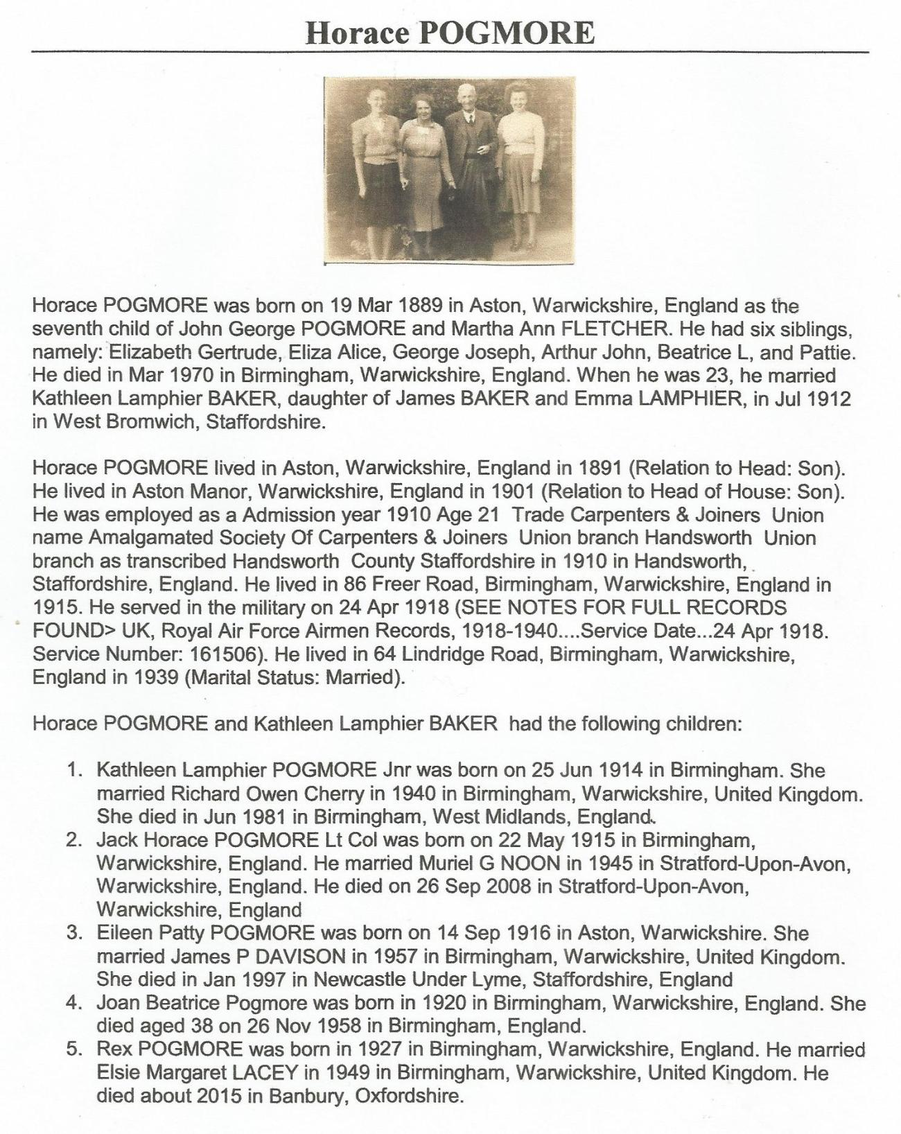 Horace family info