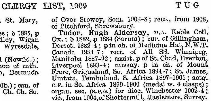 hugh tudor clergy list 1909