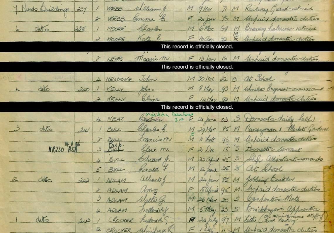 Adlam Family 1939 Register, Frome (2)