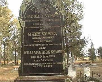 Grave of William Gibbs Symes d1929 Victoria, Australia