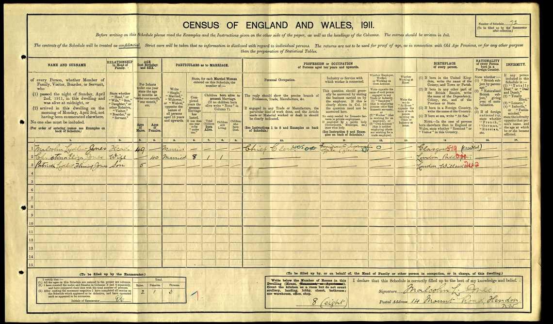 Patrick Ludlow Fleming Jones 1911 census