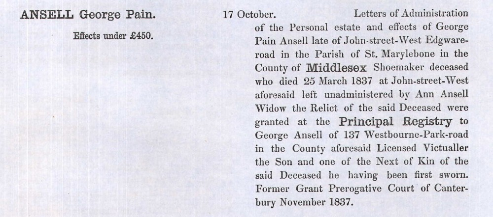George PAIN Ansell WILL 1866