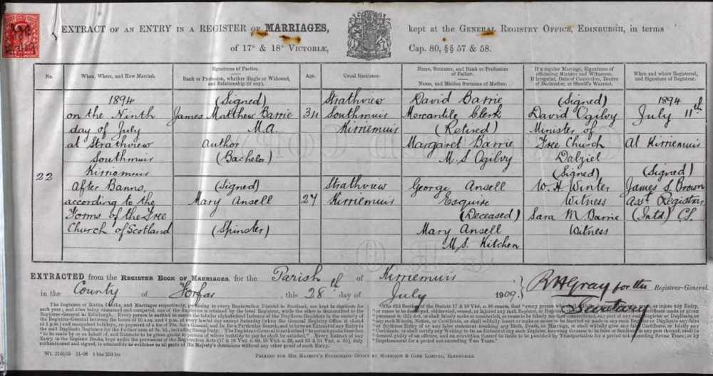 Marriage CERT Ansell & Barrie