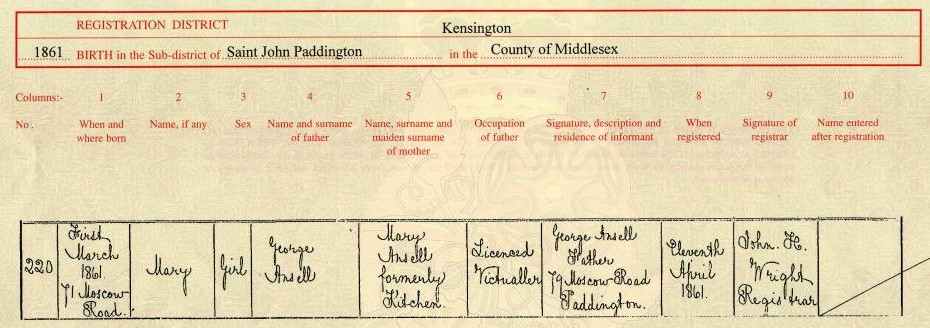 Mary Ansell birth certificate.USE
