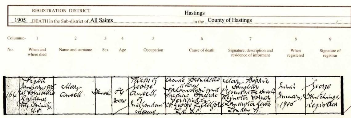 Mary Kitchen Death Cert 1905