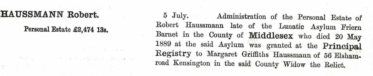 72. Robert Haussmann WILL 1889