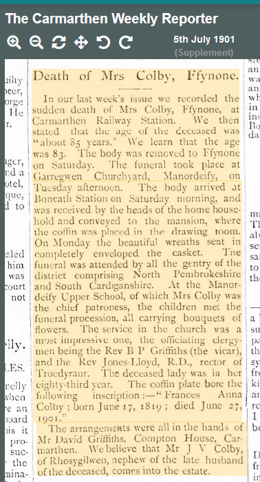 Mrs Colby Funeral 1901